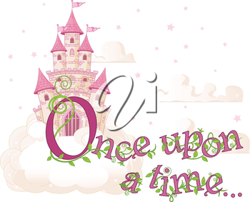 Royalty Free Clipart Image of a Fairy Tale Castle With Once Upon a Time