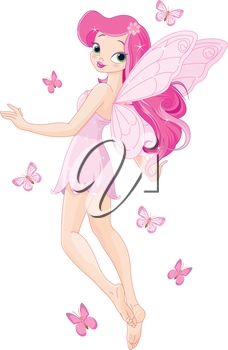 Royalty Free Clipart Image of a Fairy and Butterflies