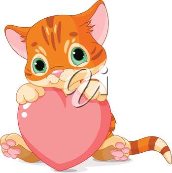 Royalty Free Clipart Image of a Kitten With a Heart