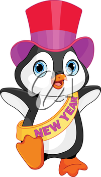 Illustration of New Year baby penguin