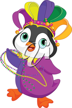 Illustration of Penguin wearing Mardi Gras costume