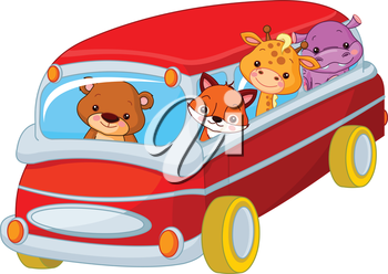 Illustration of cute toy bus full of animals