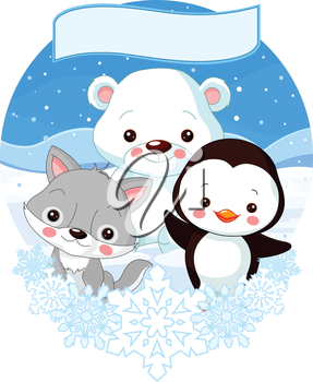 Illustration of cute North Pole animals