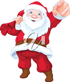 Great illustration of personable Santa Claus pointing