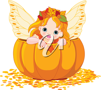 Little fairy sitting into a pumpkin