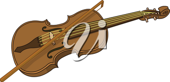 Illustration of cartoon violin and bow