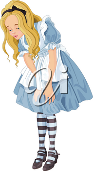 Illustration of Alice from Wonderland looks down