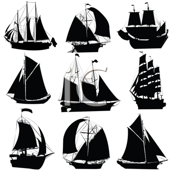 Royalty Free Clipart Image of a Collection of Sailing Ships Silhouettes Isolated Objects on a White Background
