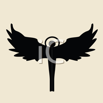 Royalty Free Clipart Image of an Angel Silhouette