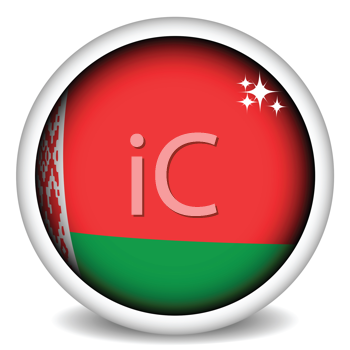 Royalty Free Clipart Image of a Belarus Flag Button