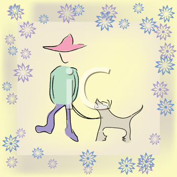 Royalty Free Clipart Iamge of a Boy With a Dog in a Heart Border
