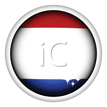 Royalty Free Clipart Image of a Dutch Flag Button