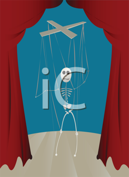Royalty Free Clipart Image of a Skeleton Puppet on a String