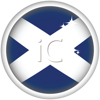 Royalty Free Clipart Image of a Scottish Flag Button