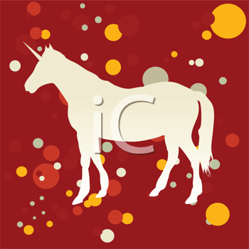 Royalty Free Clipart Image of a White Silhouetted Unicorn on a Red Background With Yellow, Red and White Dots