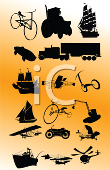 Royalty Free Clipart Image of a Transportation Collection