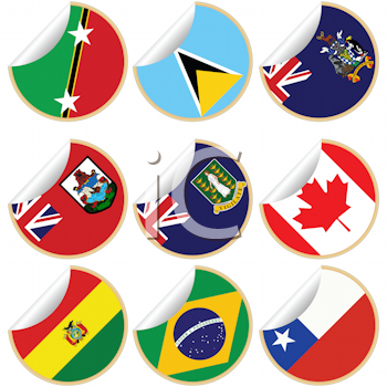 Royalty Free Clipart Image of a Collection of Flag Stickers
