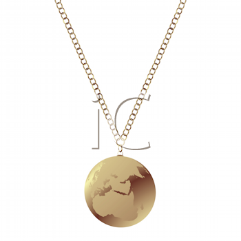 Royalty Free Clipart Image of an Earth Globe Necklace