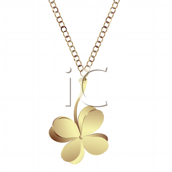 Royalty Free Clipart Image of a Golden Clover Pendant