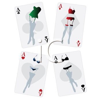 Fancy playing cards with womne lingerie