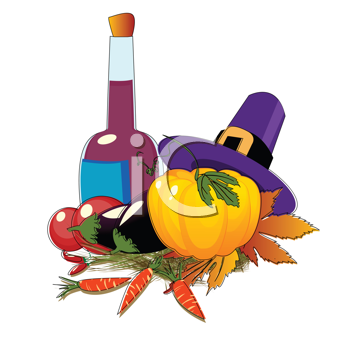 Thanksgiving Day hat and vegetables