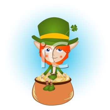 Saint Patrick's Day card with leprechaun and pot of gold