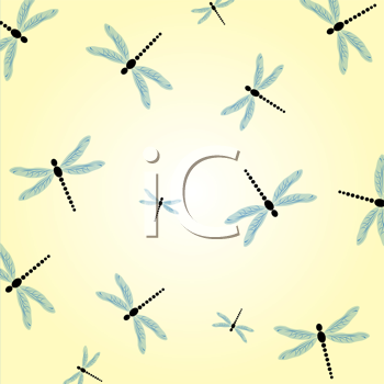 Seamless background with dragonflies