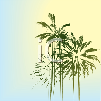 Summer holiday landscape with palm trees
