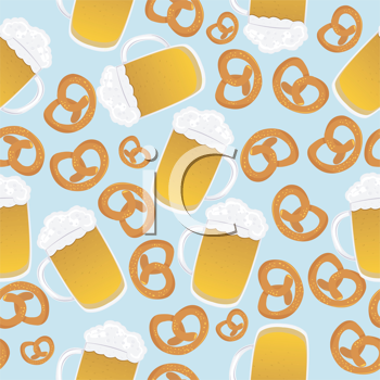 Beer mugs and pretzels design, seamless pattern suitable for Oktoberfest celebration. No mesh.