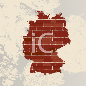 Germany map on a brick wall