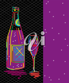Decorative text card, party invitation with stylized champagne bottle and glass.