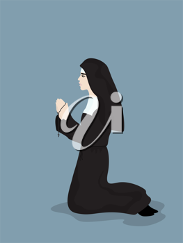 Cartoon style drawing of a praying nun