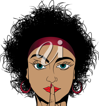 Retro drawing of a curly hair girl asking for silence