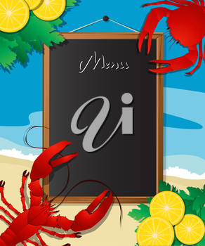 Sea food menu frame with crab and lobster, design template can be used for menu cover, flyer, sign etc.