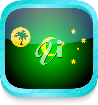 Smart phone button with Cocos Island flag