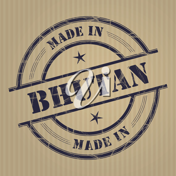 Made in Bhutan grunge rubber stamp