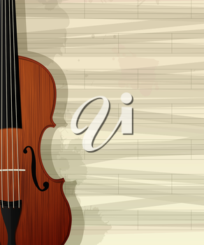 Violin card design. Sample layout with room for text