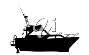 Motor yacht silhouette over white background