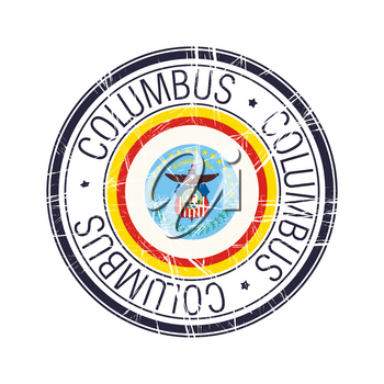 City of Columbus, Ohio postal rubber stamp, vector object over white background