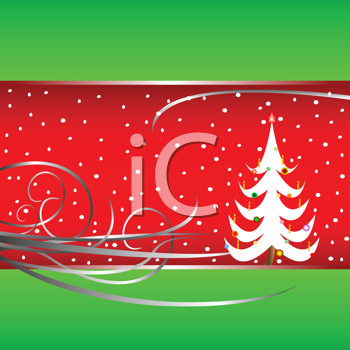 Royalty Free Clipart Image of a Christmas Card With a Tree, Snow and Flourishes