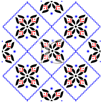 Royalty Free Clipart Image of a Cross-Stitch Floral Pattern