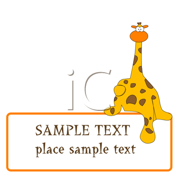 Royalty Free Clipart Image of a Giraffe Holding a Sign