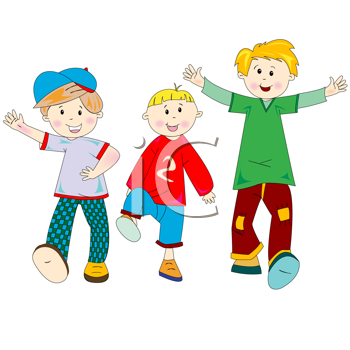 Royalty Free Clipart Image of Happy Little Boys