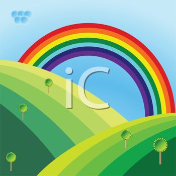 retro landscape with trees and rainbow, abstract vector art illustration