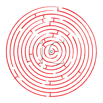 round red maze against white background, abstract vector art illustration