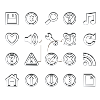 web icons ready for design against white background, abstract vector art illustration