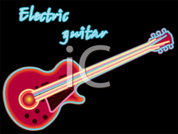 electric guitar, abstract vector art illustration