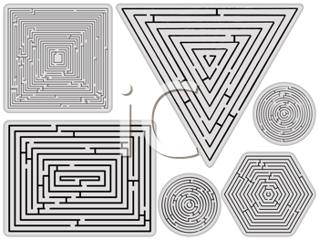 mazes collection against white background, abstract vector art illustration