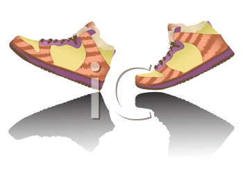 walking shoes against white background, abstract vector art illustration