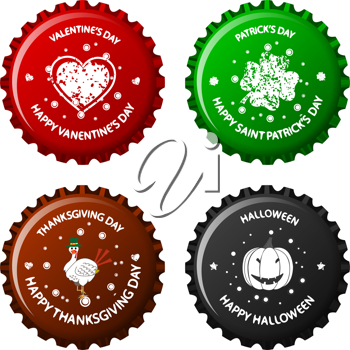 anniversary bottle caps against white background, abstract vector art illustration; image contains transparency
